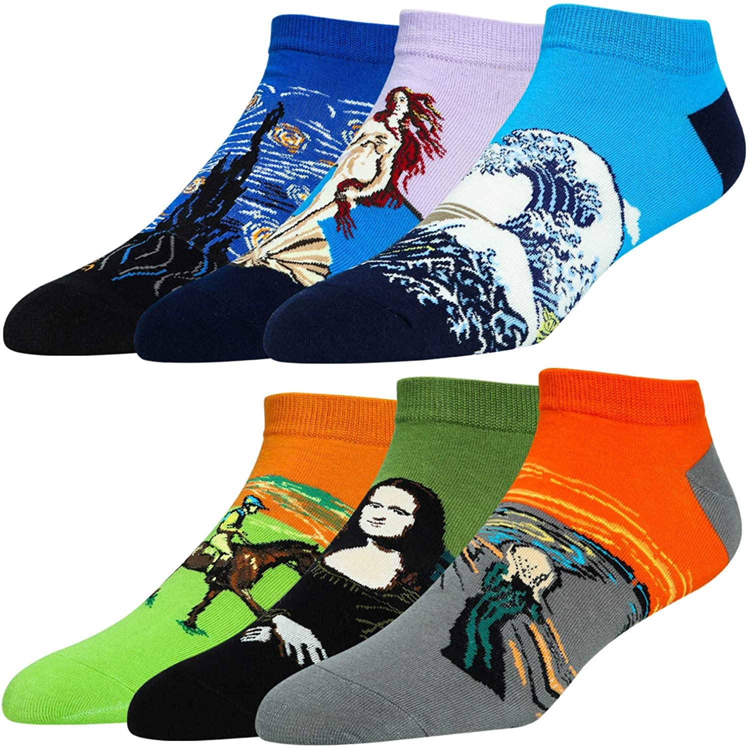 6 Pairs Novelty No Show Socks Men Ankle Cotton Low Cut Fun Casual Crew Socks