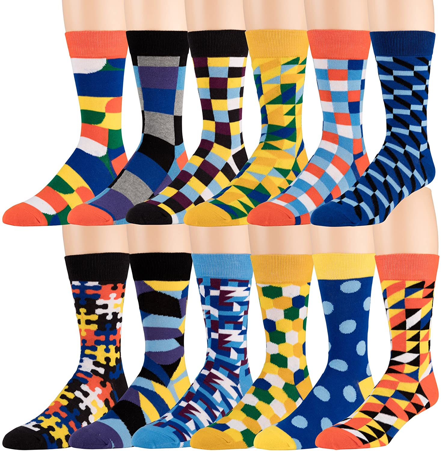 ZEKE Men's Cotton Dress Socks - 12 Pack Funky Colorful Crew Socks - Fashion Patterned Fun Striped Argyle