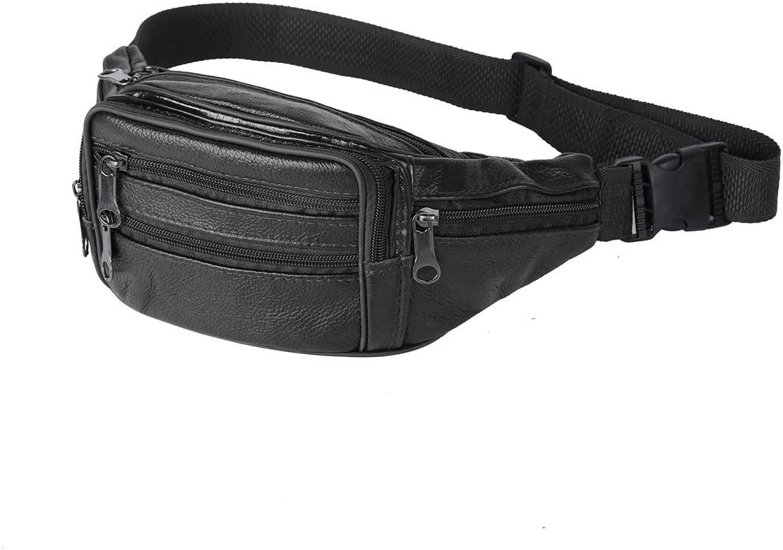 Leathario Bum Bag Men Leather Waist Bag Men Fashion Genuine Leather Walking The Dog Travel Leisure Daily Small Cowhide Strap Shoulder Bag Satchel Crossbody Bag