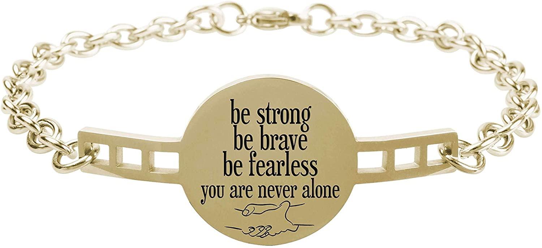 Fully Adjustable Inspirational Link Bracelet - Gold - Be Strong Be Brave