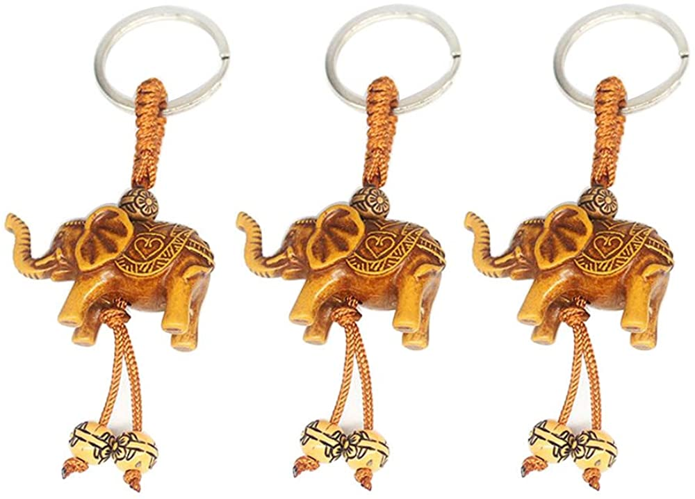 ICYANG 3Pcs Lucky Men Womens Elephant Carving Wooden Pendant Keychain Key Ring Chain Gift