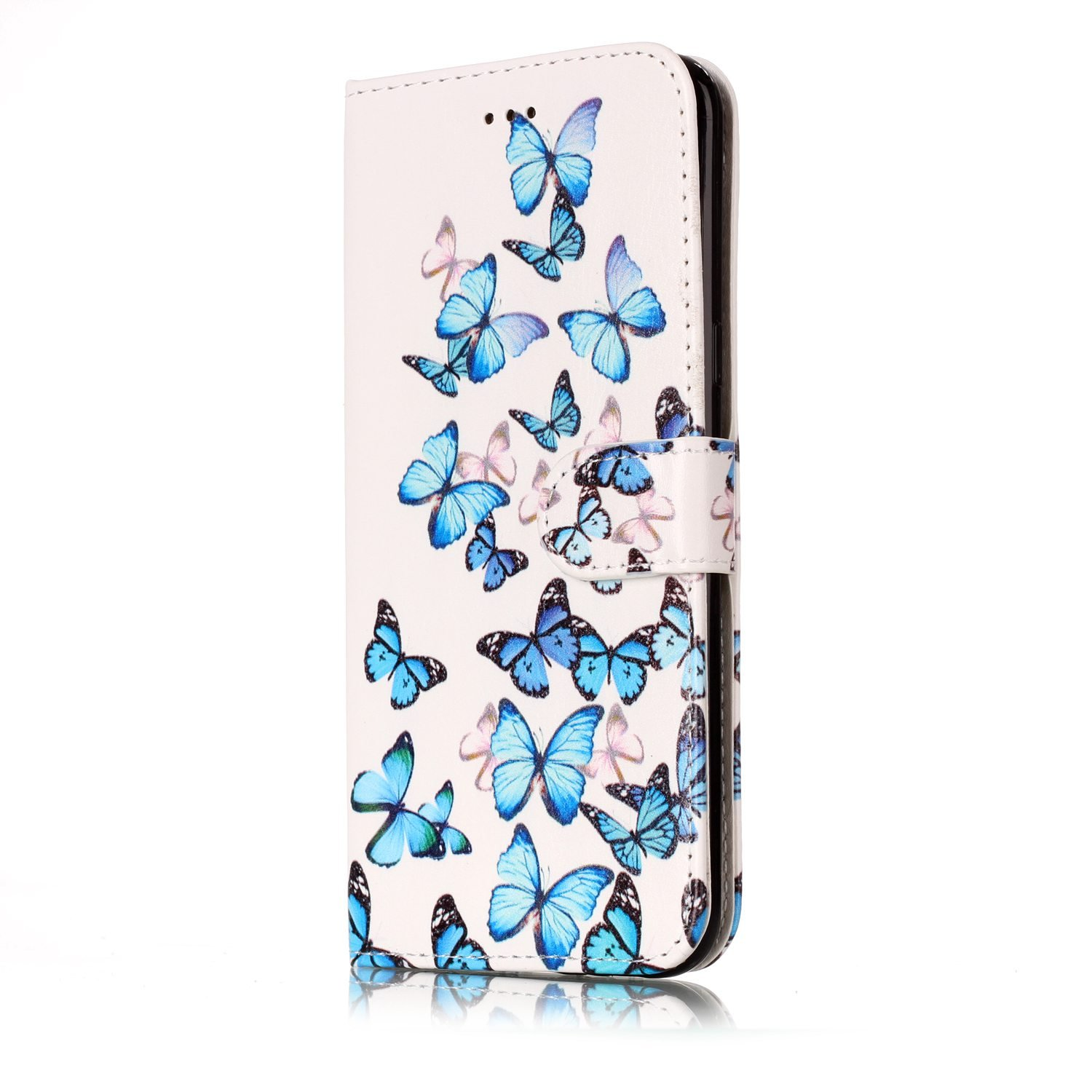 STENES Galaxy S8 Plus Wallet Case - Stylish Series Butterfly Premium Soft PU Color matching [Stand Feature] Leather Wallet Cover Flip Cases For Samsung Galaxy S8 Plus - Blue