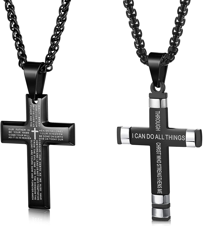 Thunaraz 2pcs Stainless Steel Cross Pendant Necklace for Men Women Lords Prayer Necklace Philippians 4:13 Cross Pendant Black Chain 24 Inch