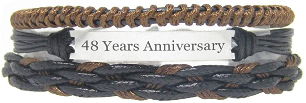 Miiras Anniversary Handmade Bracelet - 48 Years Anniversary - Black 9 - Made of Braided Rope and Stainless Steel - Gift for Women, Girls, Friends, Mothers, Daughters, Aunts