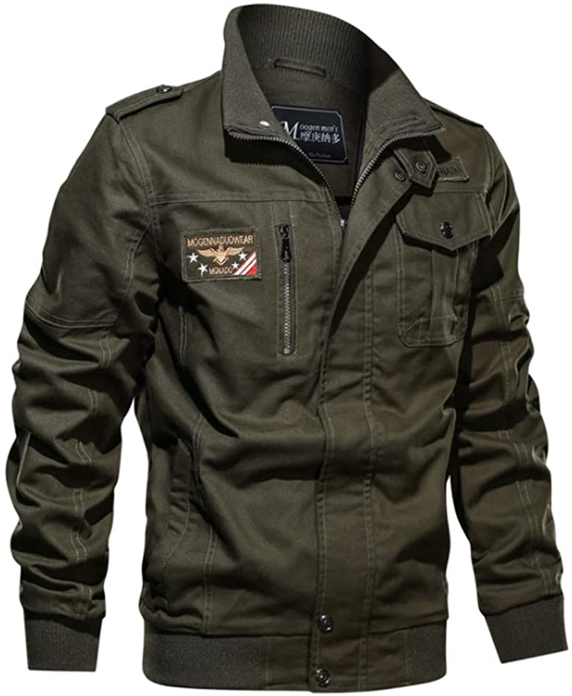Euu-Fun Men's Military Jacket Casual Cotton Outdoor Windbreaker Jacket