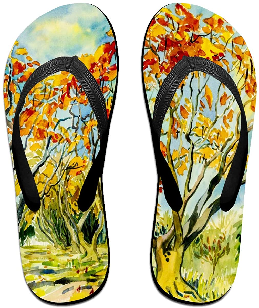 SLHFPX Mens Slippers Abstract Watercolor Landscape Paintin Comfy Cozy Flip Flop Rubber House Outdoor Sandals