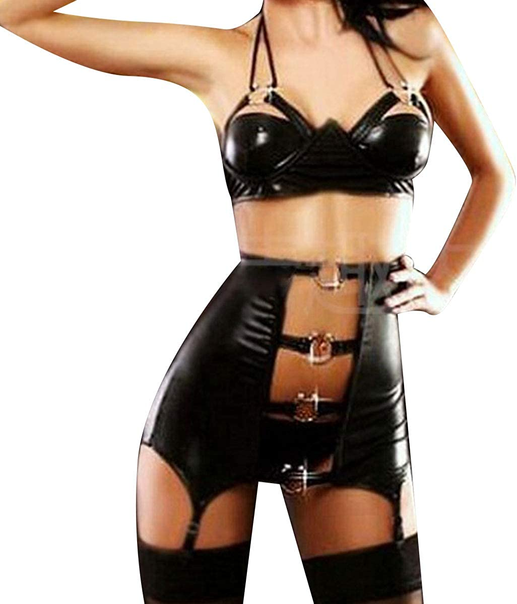 TiaoBug Womens Wet Look Leather Lingerie Set Steampunk Crop Top with High Waist Garter Panties