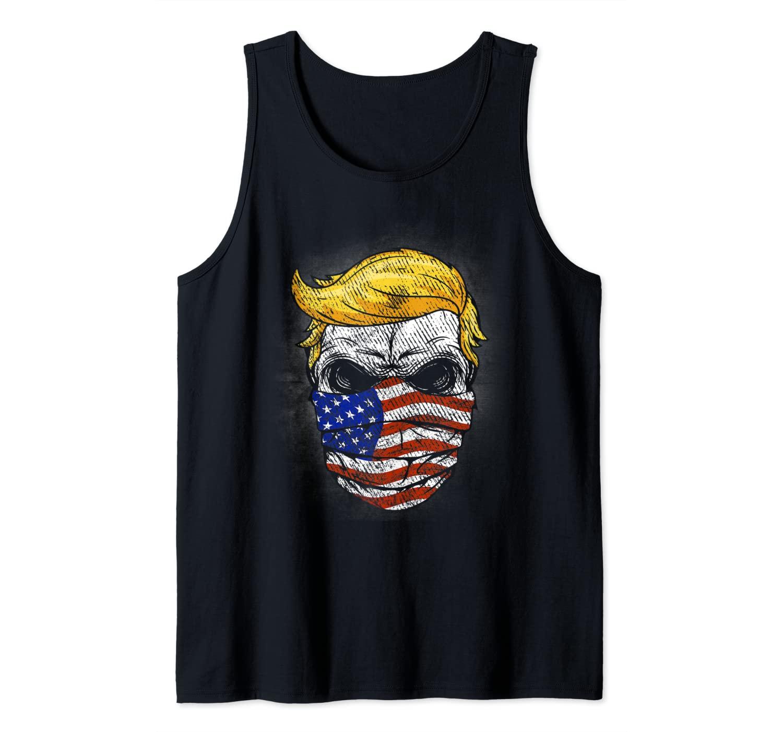 Vintage Trump Hair Skull 2020 American flag 4 th July Gift Tank Top