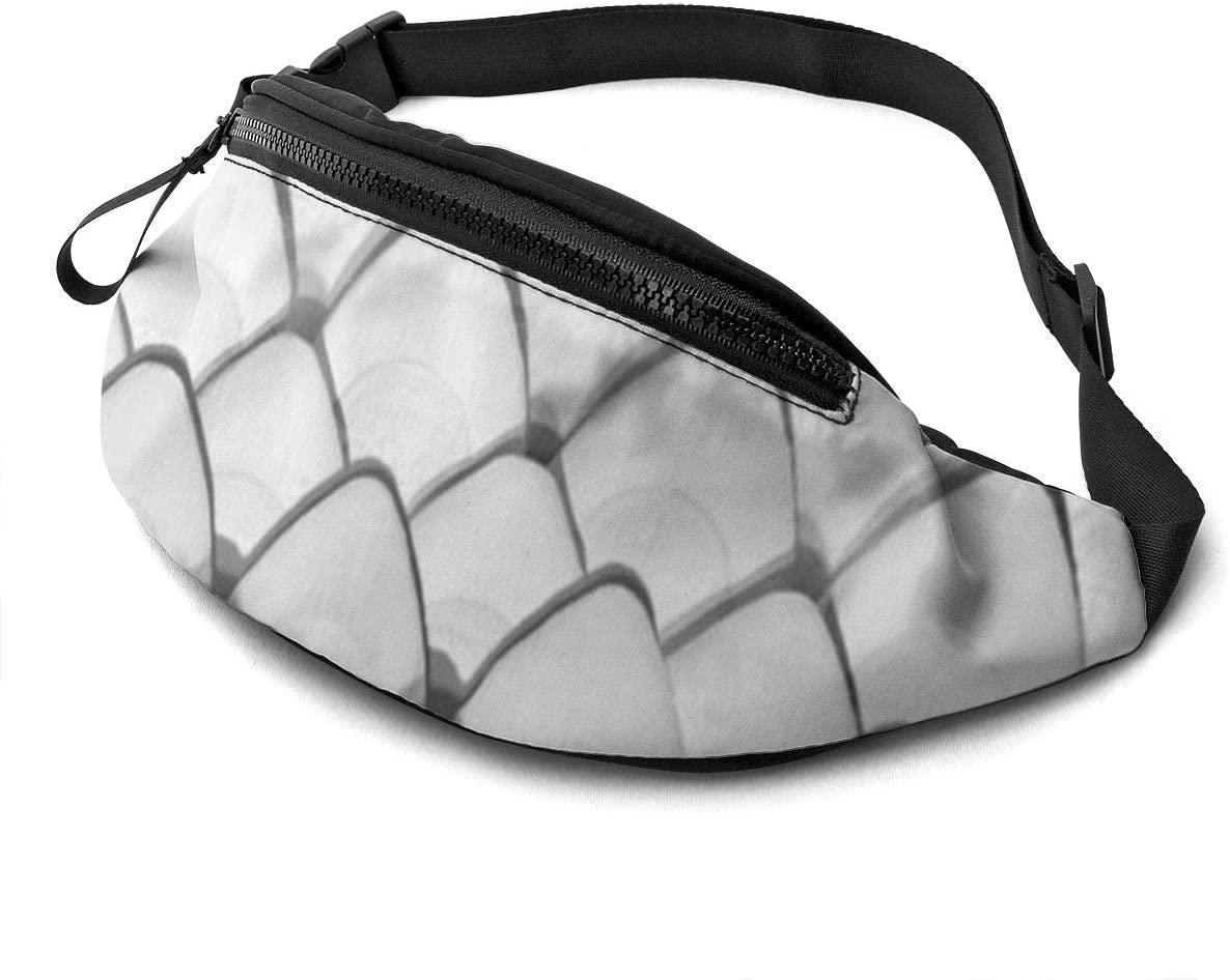Fish Scales Fanny Pack For Men Women Waist Pack Bag With Headphone Jack And Zipper Pockets Adjustable Straps