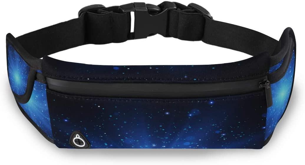 Light Effect Star Burst Sparkles Blue Man Fashion Bag Childrens Waist Pack Fanny Pack Men With Adjustable Strap For Workout Traveling Running
