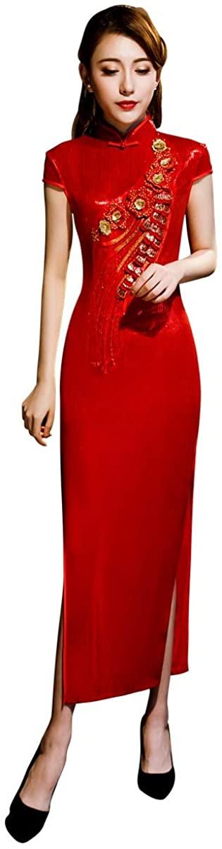 Shanghai Story Red Qipao Long Chinese dress Bright Silk Fabrics Floral Embroiery Cheongsam