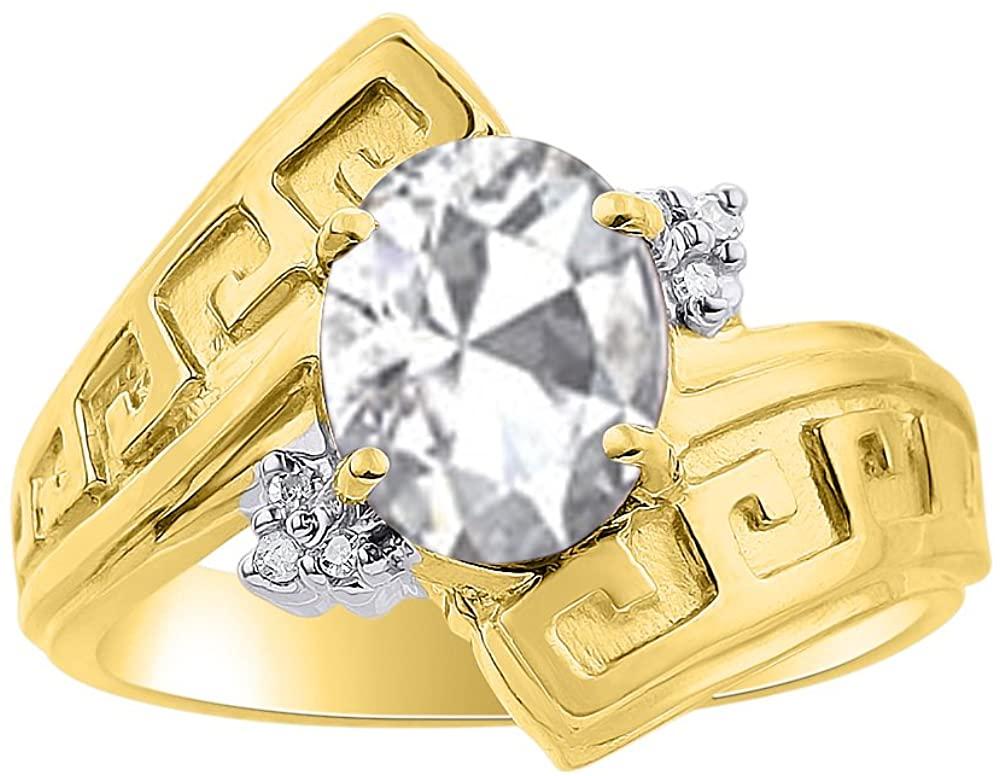 Diamond & White Topaz Ring Set In 14K Yellow Gold - Greek Key Design - Color Stone Birthstone Ring