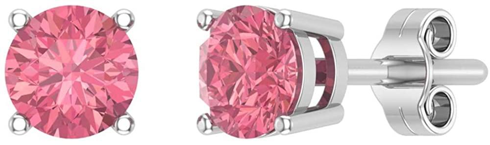 Pink Tourmaline Gemstone Stud Earrings 14K White Gold Round Cut