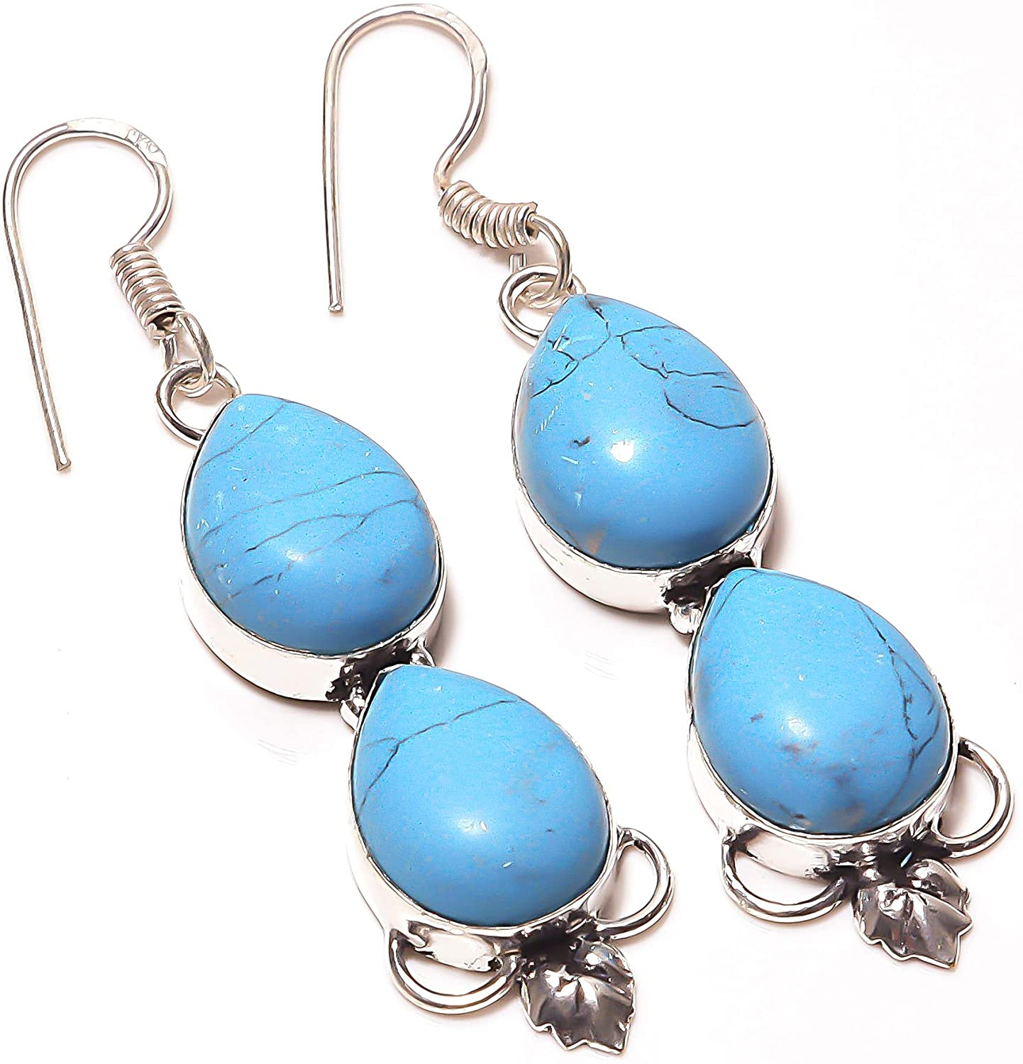Latest Design! Blue Turquoise HANDMADE Jewelry Sterling Silver Plated Earring 2.25