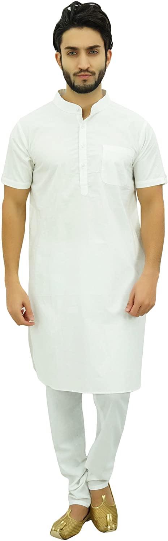 Atasi Mens Ethnic Kurta Pajama Set Casual Collar Punjabi Long Shirt