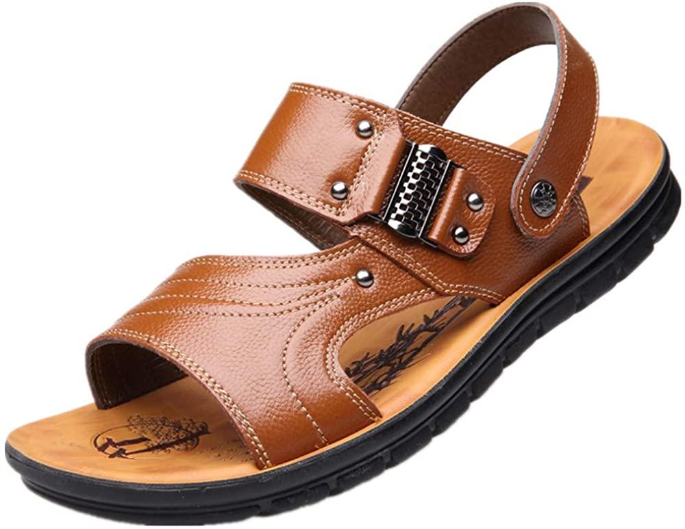 Gaorui Men's Slip on Flat Cork Sandals Strap Buckle Open Toe Slippers Summer Outdoor Fisherman Breathable Sport Beach Sandals