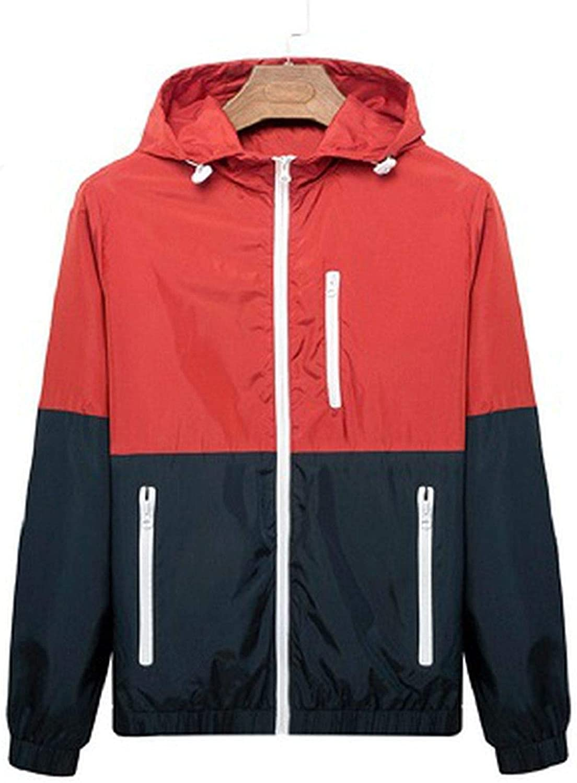 Beautymade Windbreaker Men Casual Spring Autumn Lightweight Jacket Hooded Contrast Color Zipper Up Jackets Outwear Red