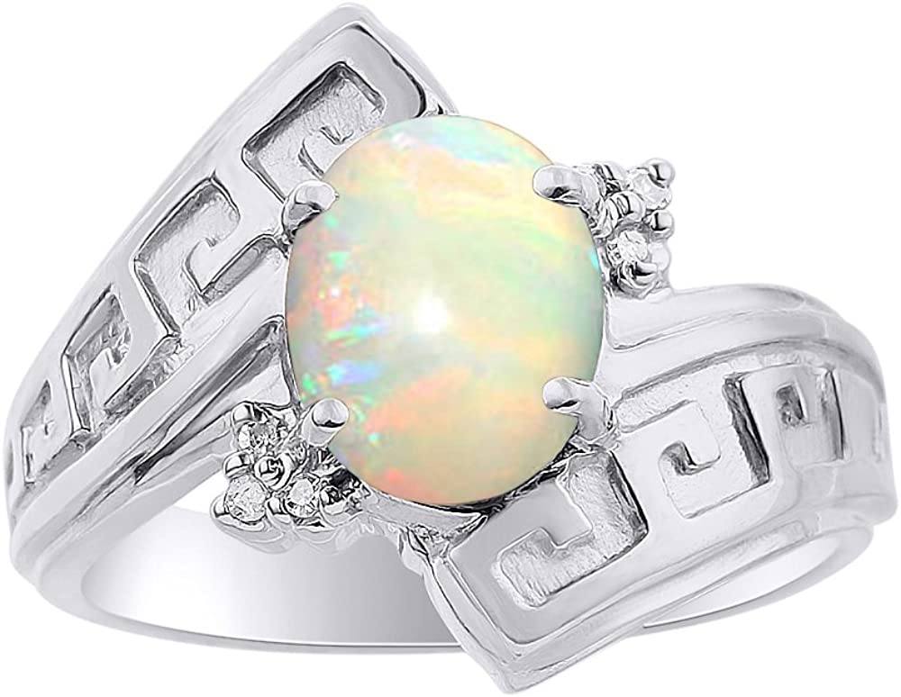 Diamond & Opal Ring Set In Sterling Silver - Greek Key Design - Color Stone Birthstone Ring