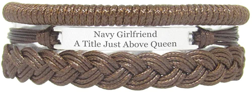Miiras Family Engraved Handmade Bracelet - Navy Girlfriend A Title Just Above Queen - Brown - Made of Braided Rope and Stainless Steel - Gift for Navy Girlfriend