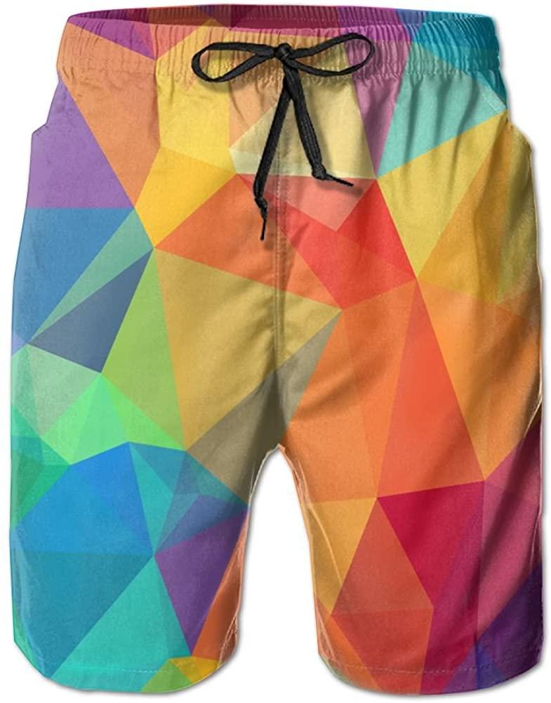 PIN Lightweight Quick Dry Colored Polygon Beach Shorts Swim Trunks Beach Pants