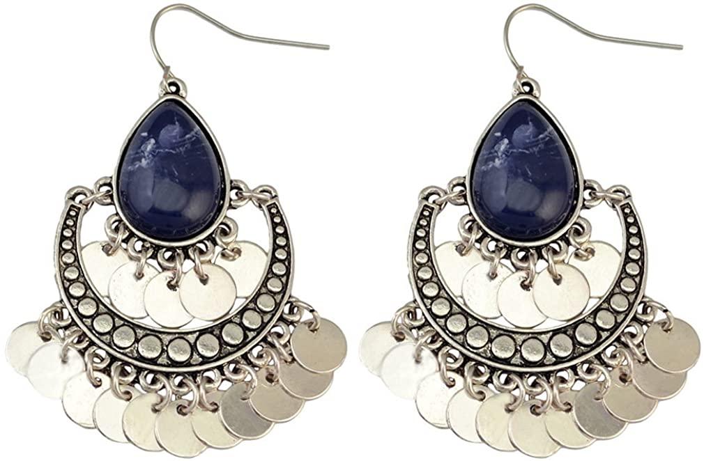 YAZILIND Bohemian Chandelier Teardrop Resin Dangle Drop Earrings Gypsy Lightweight Disc Charm Tassels Ethnic Hoops Dark Blue