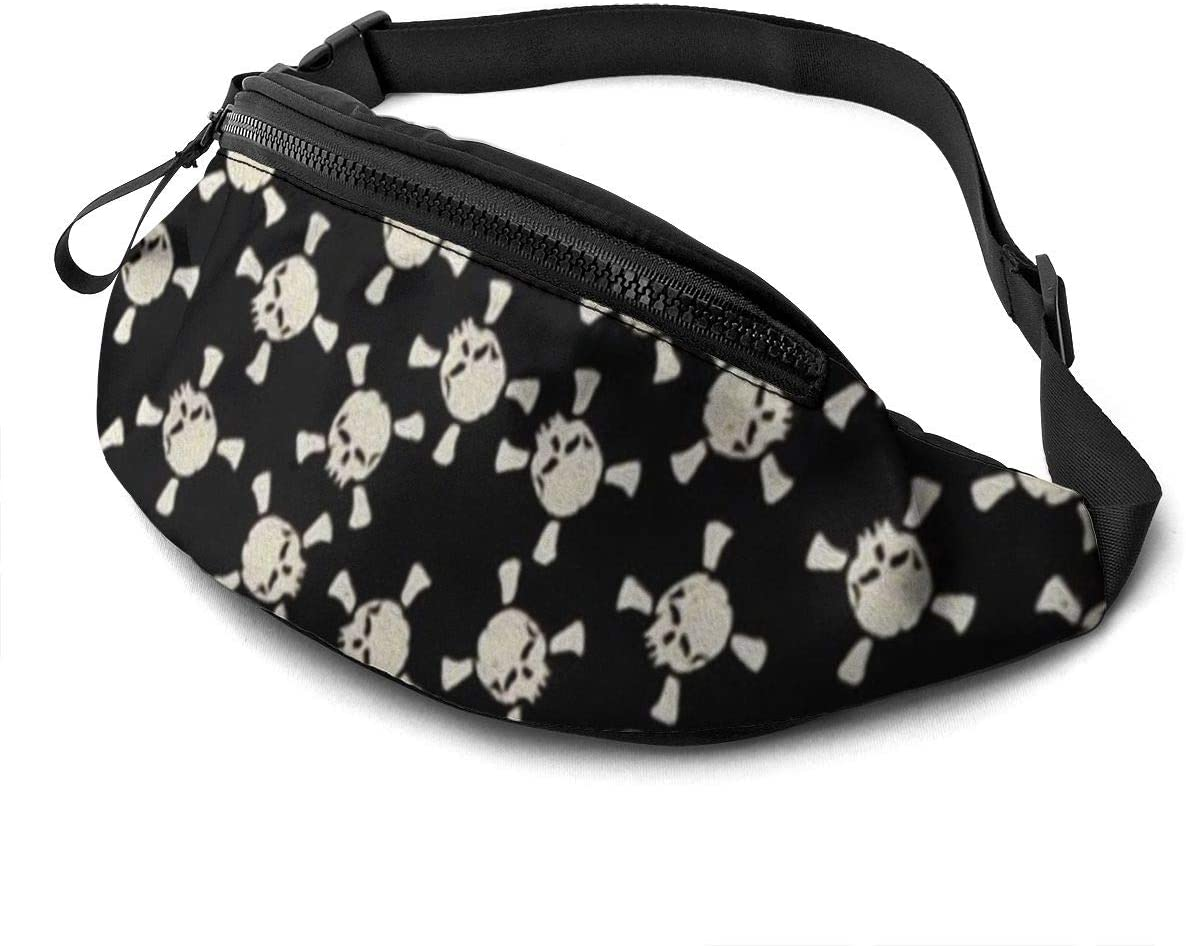 Pirate skull Fanny Pack for Men Women Waist Pack Bag with Headphone Jack and Zipper Pockets Adjustable Straps