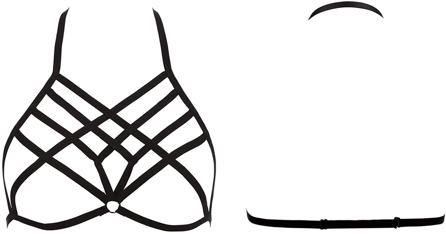 Women Strappy Harness Hollow Out Cross Cage Bra Elastic and Adjustable Cupless Bralette Straps Lingerie, Black