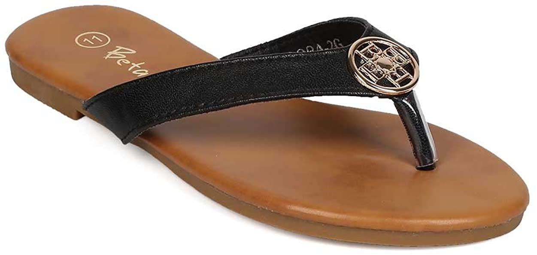 Leatherette Emblem Thong Sandal (Little Girl/Big Girl) EH51 - Black (Size: Little Kid 1)