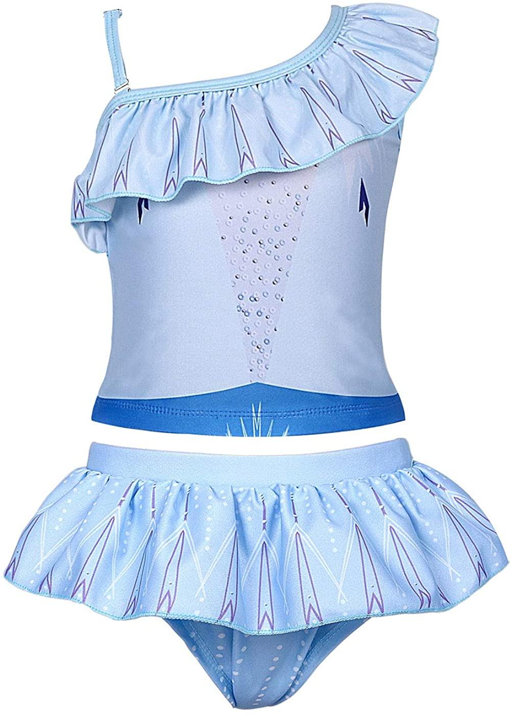 AmzBarley Girls Swimwear Two Pieces Bathing Suit Kids Princess Swimsuits Ruffle Swimming Suit One Shoulder Bikini Holiday Beach Sport Pool Party Sunsuit Blue Size 5-6Years