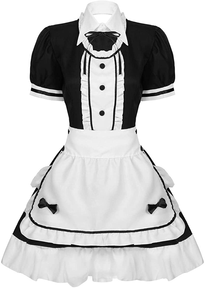 Hularka Women's Anime French Maid Dress Outfits Halloween Cosplay Costumes Apron Fancy Dress