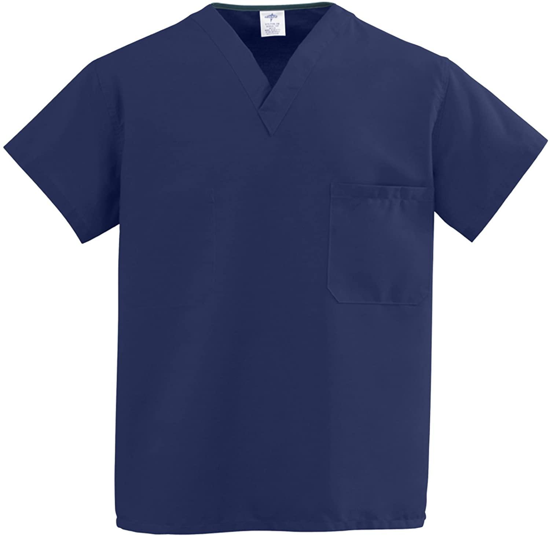 Medline ComfortEase Unisex One-Pocket Rvrsbl Scrub Top, Midnight Blue
