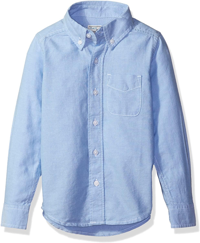 The Children's Place Big Boys' Long Sleeve Uniform Oxford Shirt, LTBLUOXFRD 5063, Medium/7/8