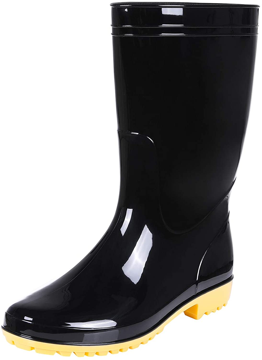 Comwarm Men's Mid-Calf Rain Boots Waterproof Anti-Slip Black PVC Adult Outdoor Work Rubber Boots