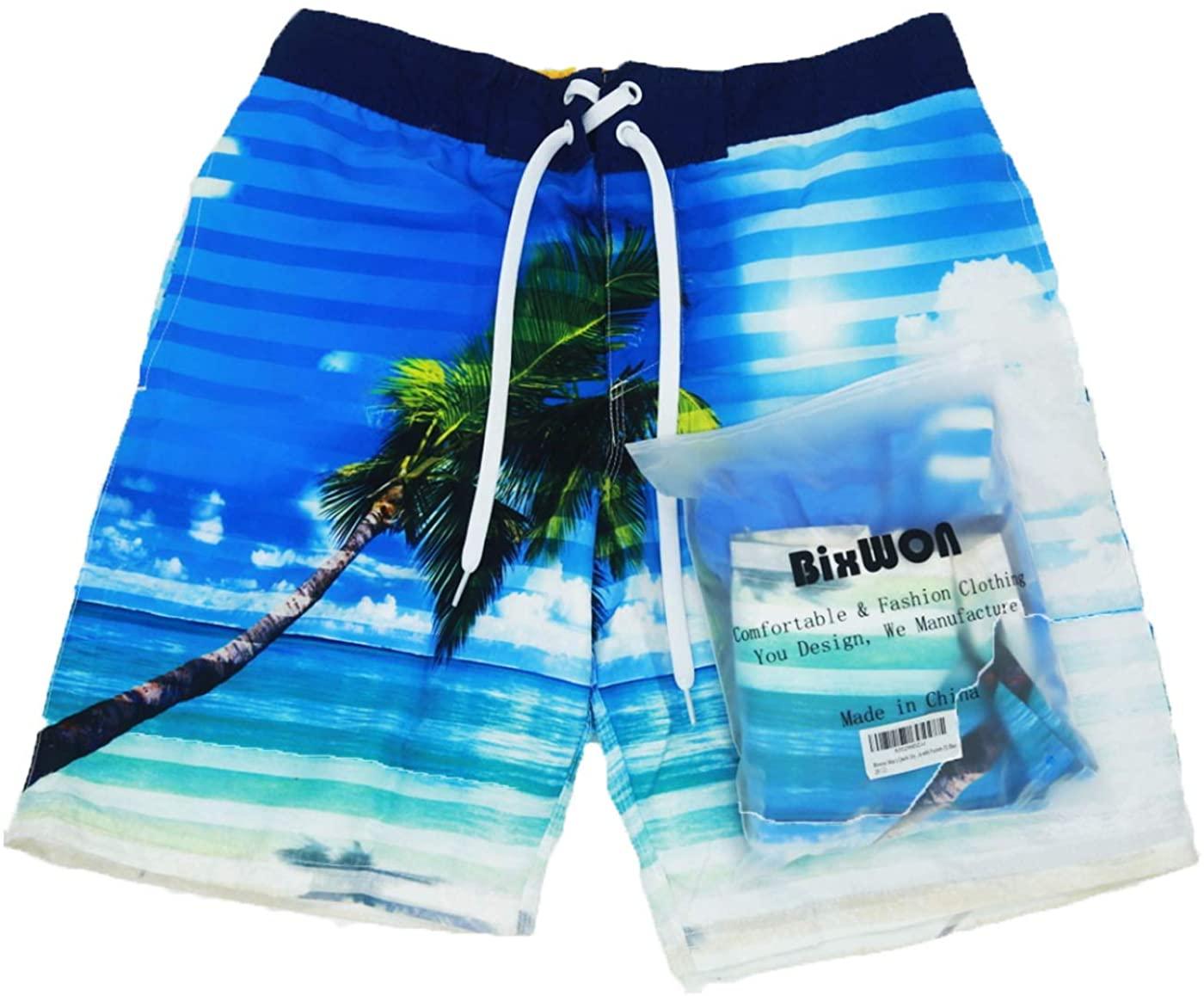 Bixwon Men's Quick Dry Swim Trunks Swimwear Bathing Suits with Pockets Beach Shorts
