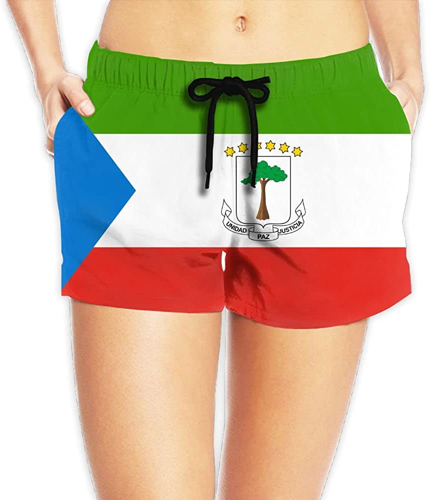 Yongchuang Feng Flag Of Equatorial Guinea Women's Funny Hot Pants Summer Casual Beach Shorts Quick Dry Swim Trunks