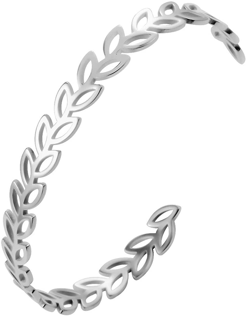 Stainless Steel Olive Leaf Adjustable Simple Cuff Bangle and Bracelet for Girls (Steel)