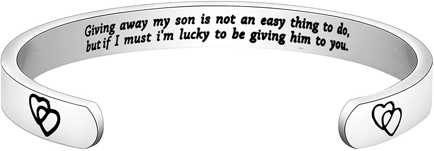 ENSIANTH Daughter in Law Gift Giving Away My Son is Not an Easy Thing to Do Keychain Wedding Gift Jewelry for Bride Bridal Shower Gift