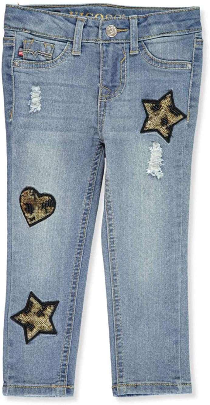 VIGOSS Girls' Marbled Sequin Ankle Skinny Jeans