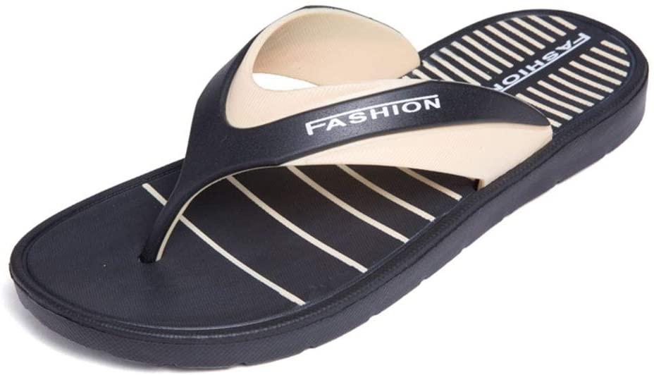 WXYPP Outdoor Non-Slip Wearable Flip-Flops Summer Men's Beach Sandals Waterproof and Breathable Elastic Anti-Stress Flip Flops Sandals (Color : Black Brown, Size : 42)