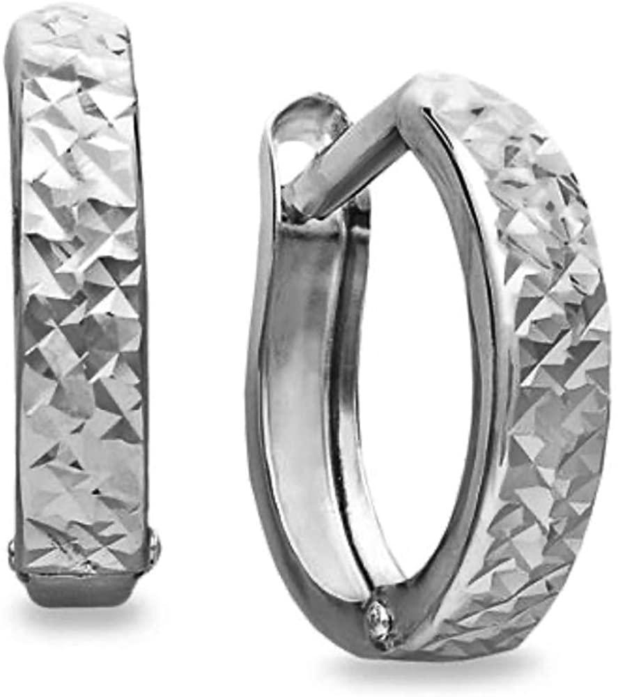 925 Sterling Silver Diamond Cut Huggie Hoop Earrings For Men