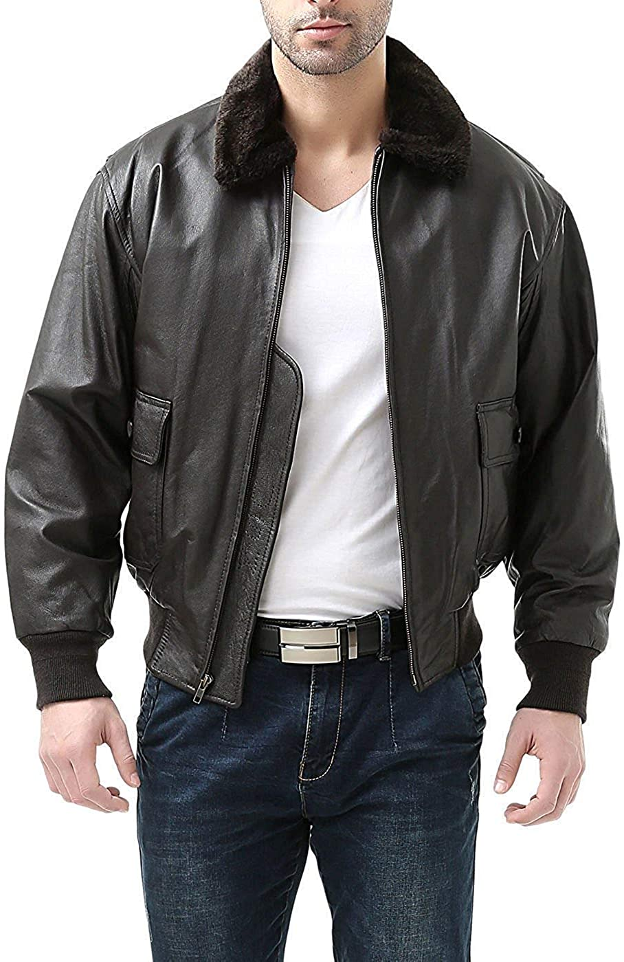 Classic Outfitters Men's Navy G-1 Cow Hide Brown Leather Flight Bomber Jacket