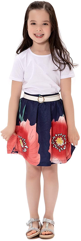Girls Kids Summer Skirt Set Short Sleeve White Shirt Top + Flower Pleated Skirt 2Pcs Outfits 3-8 Years