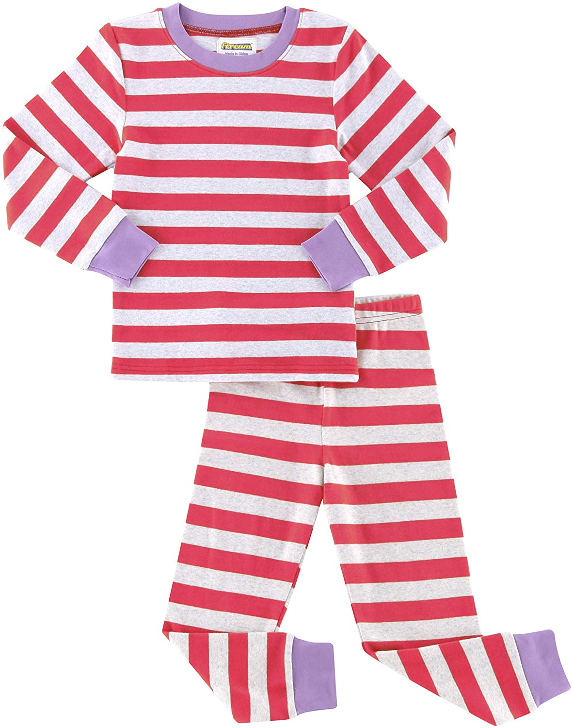 Fiream Girls Boys Pajamas Sets Cotton Striped Long Sleeve Thickened Sleepwear for Girls and Boys Size 12 Month-13 Years