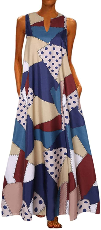 Mocure Women African Vintage Splice Dashiki Sleeveless Summer Pockets Long Maxi Dress Casual Maxi Skirt