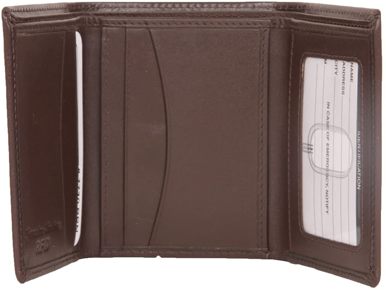 ili Leather Men's Trifold Wallet with RFID Blocking (Brown)