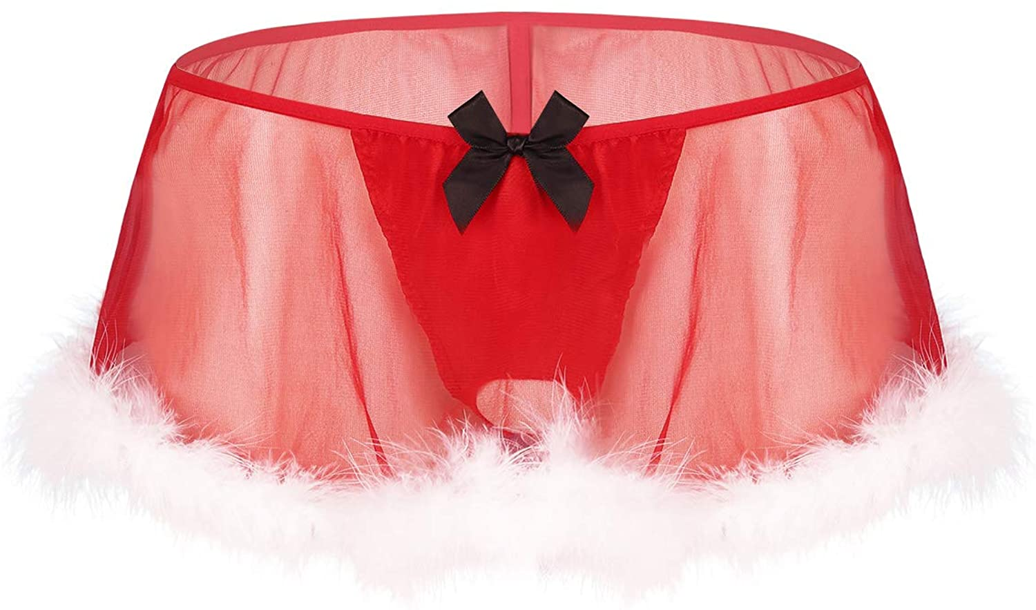 iEFiEL Men Sissy Christmas Santa Baby Costume Red G-String Thongs Panty White Feather Hem Skirt Red X-Large