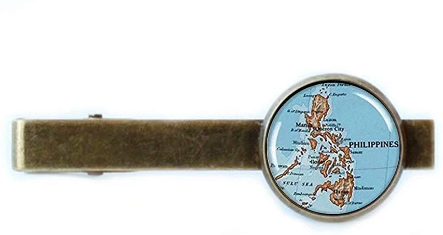 yi sheng The Map of Philippines Illustration Tie Clip,Popular Glass Tie Clip,Stylish Tie Clip Gift