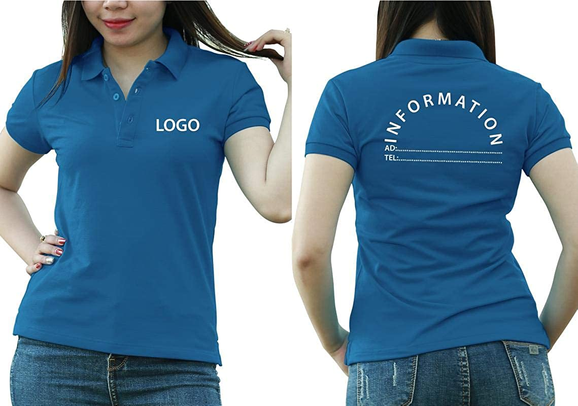 Add Custom Personalize Your Logo Text. Embroider On Polo & T-Shirt with Multi Sides – Sizes - Colors. Pack of 10