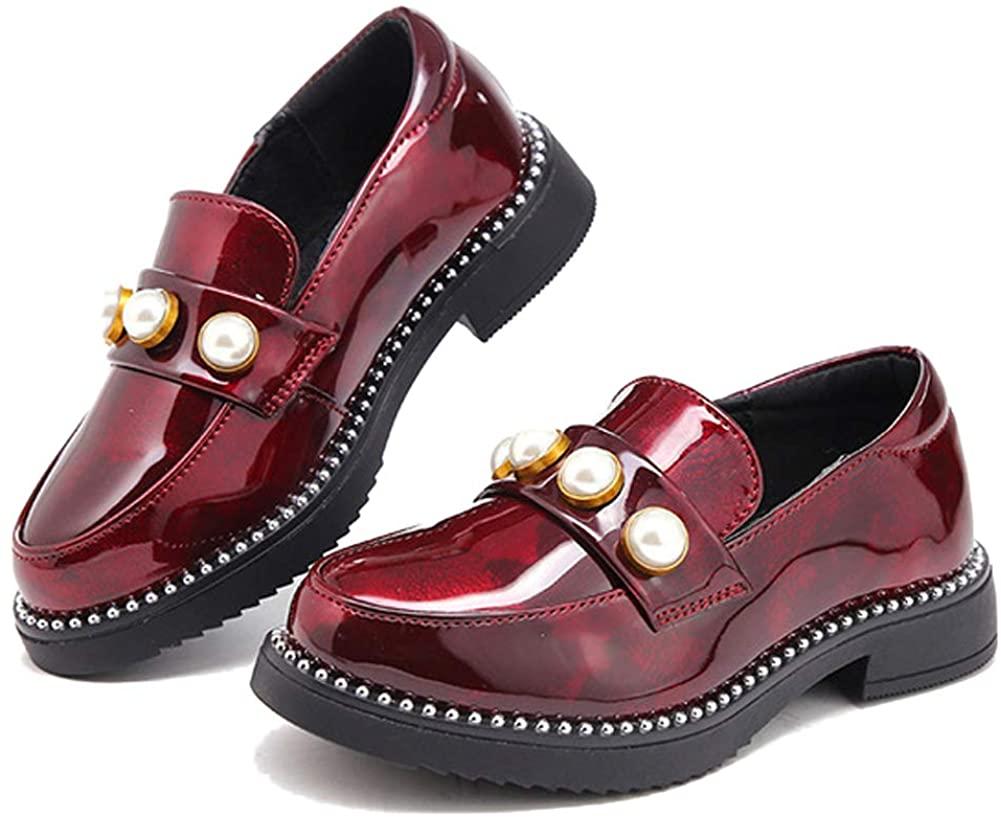 Minibella Girl's Slip On Loafers Uniform Dress Oxford Shoes