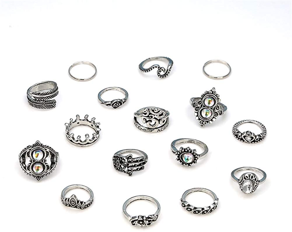 MTRSUE 16PCS Vintage Knuckle Ring Set Sun Moon Elephant Fatima Bohemian Stack Rings Above Knuckle Rings
